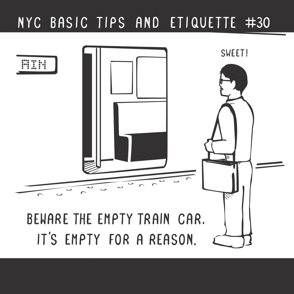 "Photo - This undated drawing provided by Nathan Pyle shows an entry from his book ""NYC Basic Tips and Etiquette."" In the book, Pyle has compiled dozens of cartoon dos and don'ts literally drawn from his experience as an Ohioan who moved to Manhattan six years ago. The tips work as well for tourists as they do for transplants. (AP Photo/Courtesy Nathan Pyle)"