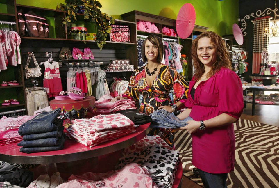Brittany Faulkner and Jennifer Najera, foreground, in new upscale children's clothing store, Funky Monkey, 14101 N. May Ave on Tuesday,  Feb. 26, 2008.  BY JIM BECKEL, THE OKLAHOMAN