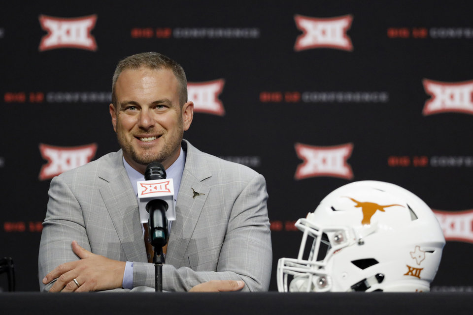 Photo - Texas head coach Tom Herman speaks during Big 12 Conference NCAA college football media day Tuesday, July 16, 2019, at AT&T Stadium in Arlington, Texas. (AP Photo/David Kent)