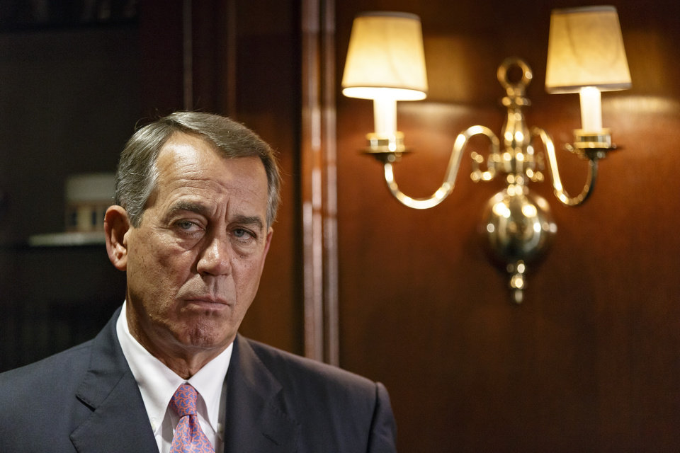 House Speaker John Boehner Ohio listens as GOP leaders speak to reporters following a Republican strategy meeting on Capitol Hill in Washington, Tuesday, April 29, 2014. (AP Photo)