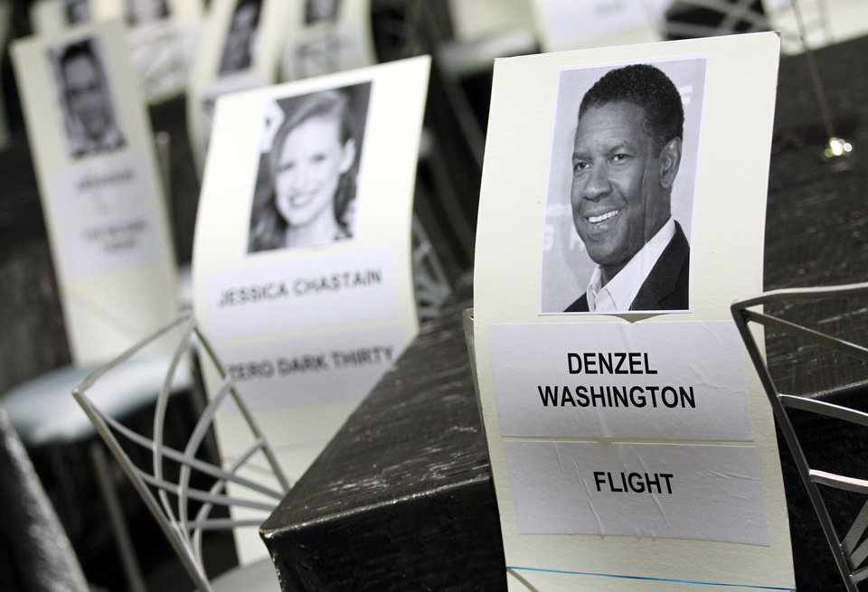 Photo - Seating placards for the 19th annual SAG Awards are seen inside the Shrine Auditorium on Saturday, Jan 26, 2013 in Los Angeles. The SAG Awards will be held Jan. 27, 2013. (Photo by Matt Sayles/Invision/AP)