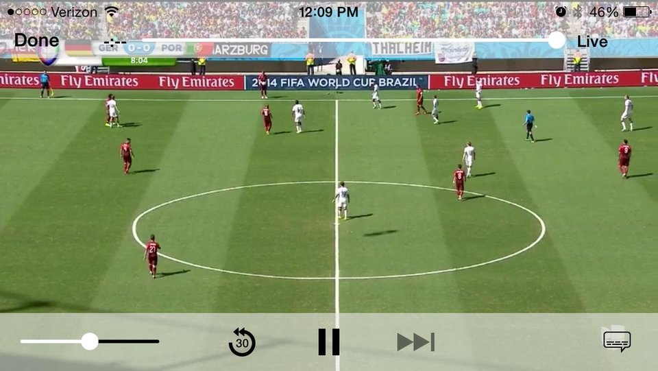 This screen shot taken from Univision Deportes' mobile app shows action during the group G World Cup soccer match between Germany and Portugal at the Arena Fonte Nova in Salvador, Brazil, Monday, June 16, 2014. (AP Photo/Univision Deportes)