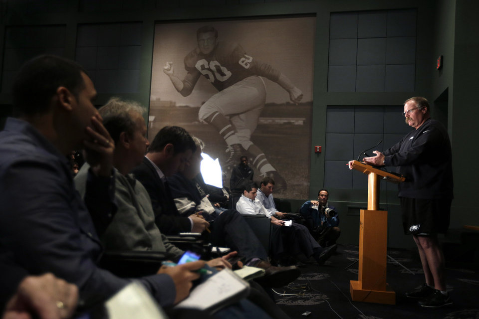 Philadelphia Eagles head coach Andy Reid speaks during a news conference at the team's NFL football practice complex, Monday, Nov. 19, 2012, in Philadelphia. The Eagles are 3-7 and have lost six straight, accelerating the countdown toward the possible end of Andy Reid's 14-year tenure as coach. (AP Photo/Matt Slocum) ORG XMIT: PAMS104