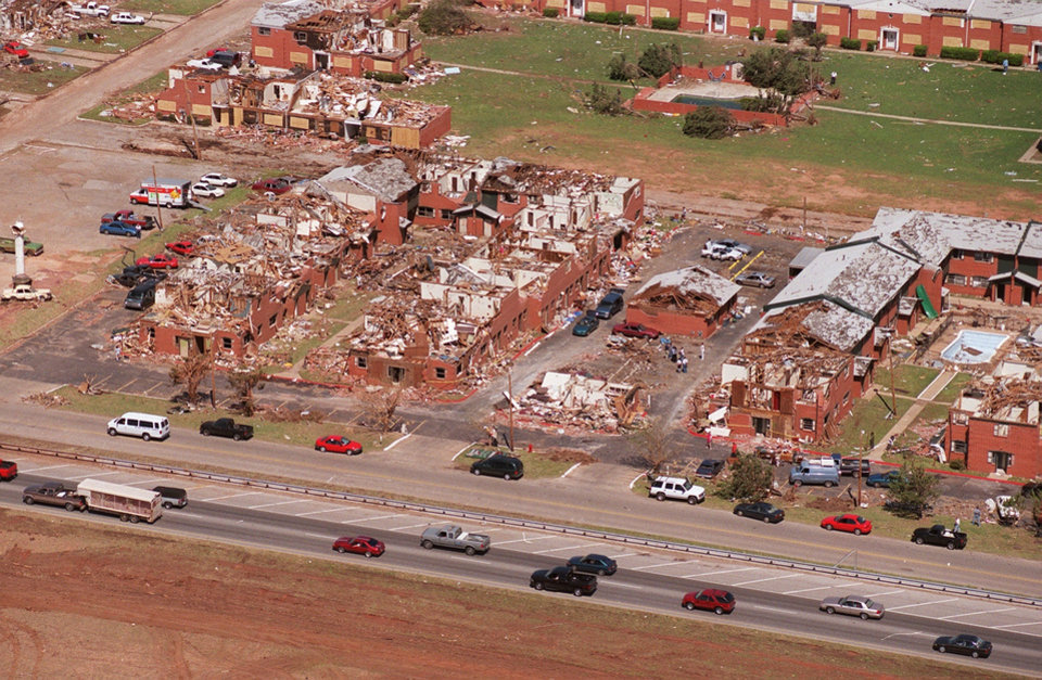 Tornado damage, aerial view: Apartment Complex just east of I-35 in Moore.