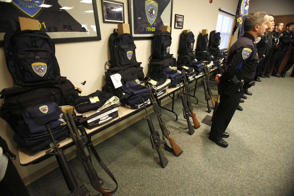 Police gear is lined up against a wall for the six new recruits on the first day of Edmond Police Department's basic police training academy.  BY PAUL HELLSTERN, THE OKLAHOMAN. <strong>PAUL HELLSTERN - OKLAHOMAN</strong>