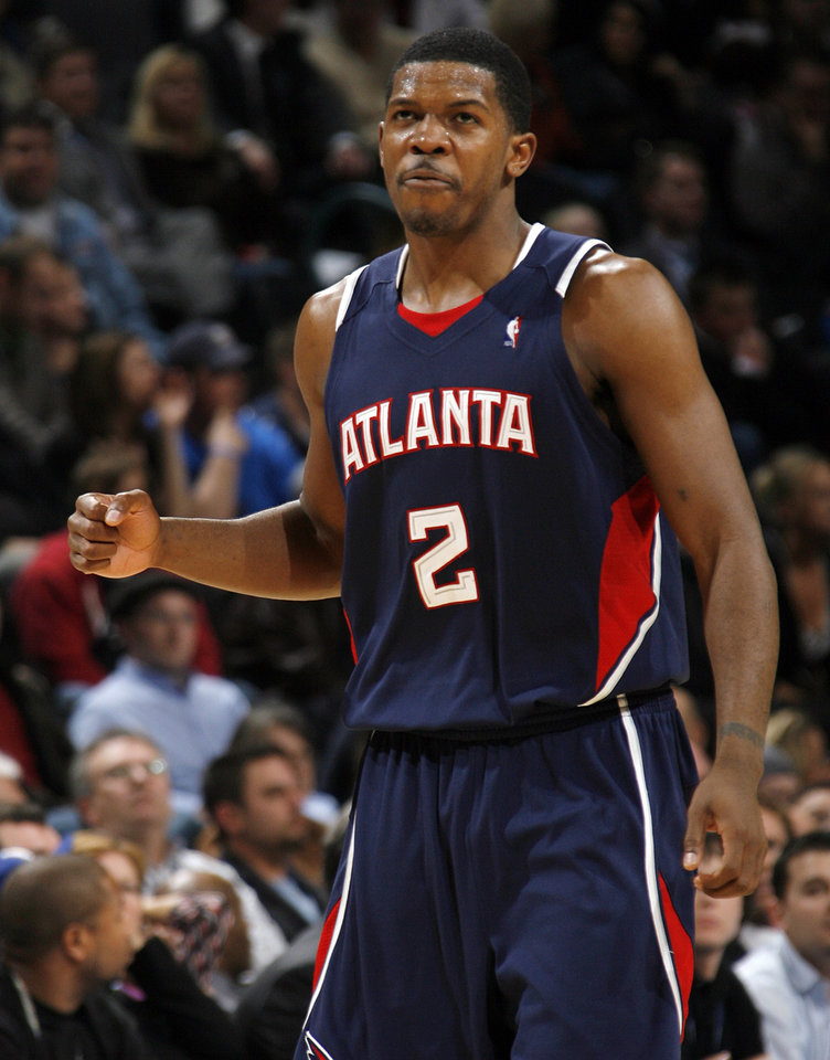 Atlanta's Joe Johnson (2) reacts after making a shot during the NBA basketball game between the Atlanta Hawks and the Oklahoma City Thunder at the Ford Center in Oklahoma City, Tuesday, February 2, 2010. The Thunder won, 106-99. Photo by Nate Billings, The Oklahoman