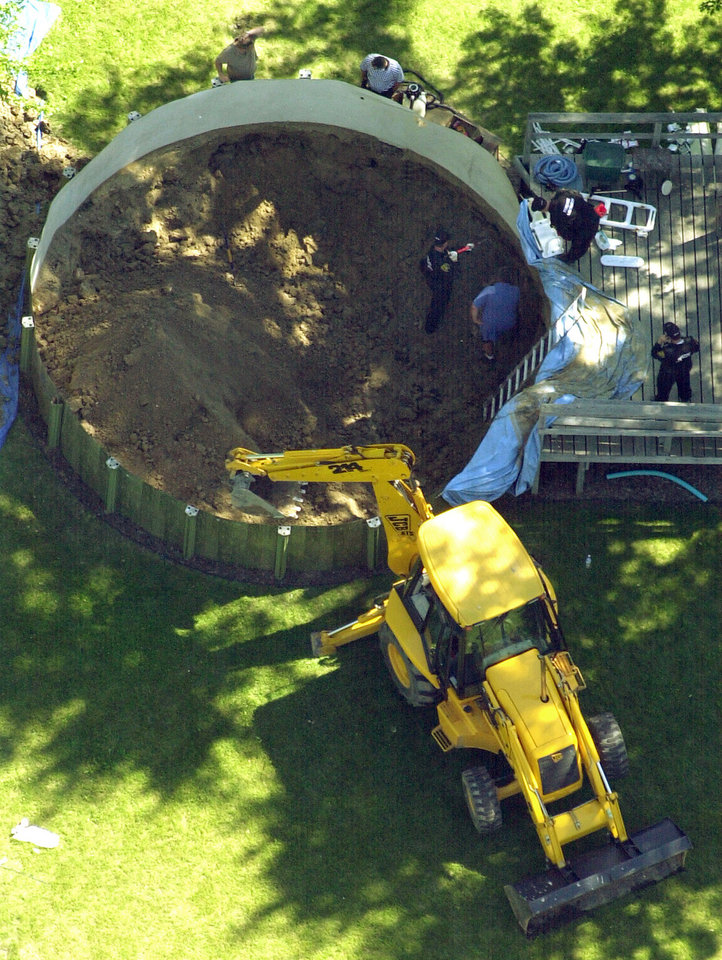 Photo -   FILE - In this July 16, 2003, file photo, authorities search under a backyard pool in Hampton Township, Mich., for evidence linked to the disappearance of ex-teamster boss Jimmy Hoffa. (AP Photo/Paul Sancya, File)
