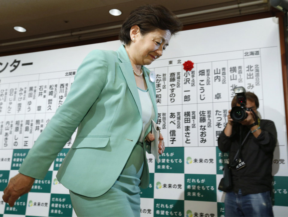 Photo - Yukiko Kada, leader of the Tomorrow Party, leaves after a news conference in Tokyo early Monday, Dec. 17, 2012. More than 20 months after a catastrophic nuclear disaster, massive protests against atomic energy and public opinion polls backing the phase-out of reactors, a pro-nuclear party won Japan's parliamentary election. The result left anti-nuclear proponents in shock Monday, struggling to understand how the Liberal Democratic Party not only won, but won in a landslide. The Tomorrow Party, which ran on a strong anti-nuclear platform, fizzled out, ending up with just nine seats in Sunday's vote. (AP Photo/Kyodo News) JAPAN OUT, MANDATORY CREDIT, NO LICENSING IN CHINA, HONG KONG, JAPAN, SOUTH KOREA AND FRANCE