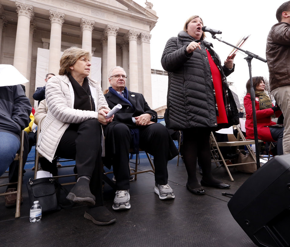 Photo - Oklahoma Education Association President Alicia Priest speaks as Oklahoma teachers hold a rally at the State Capitol on Monday, April 2, 2018 in Oklahoma City, Okla.  Photo by Steve Sisney, The Oklahoman