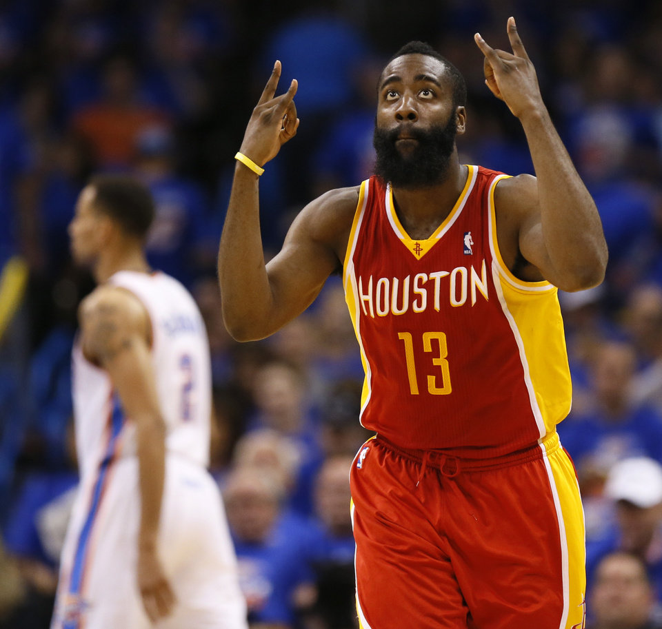 Houston's James Harden (13) reacts after hitting a 3-point shot in the second half during Game 5 in the first round of the NBA playoffs between the Oklahoma City Thunder and the Houston Rockets at Chesapeake Energy Arena in Oklahoma City, Wednesday, May 1, 2013. Photo by Nate Billings, The Oklahoman