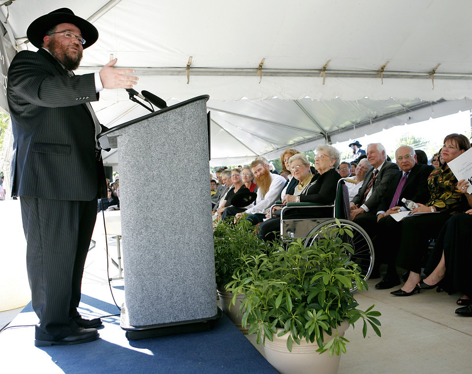 IN this 2008 photo, Rabbi Ovadia Goldman speaks to an audience during the opening of the Chabad Community Center for Jewish Life and Learning in Oklahoma City. JOHN CLANTON - THE OKLAHOMAN
