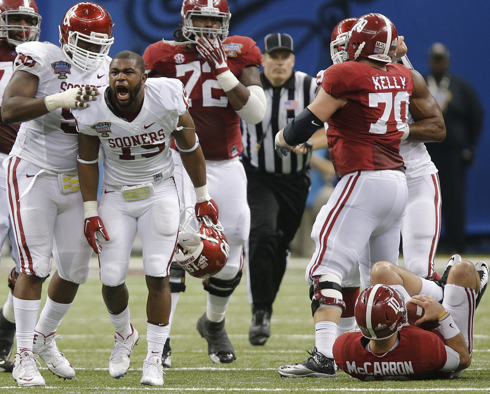 Photo -                    Oklahoma's Eric Striker was pegged as a future first-round pick in a Sports Illustrated 2015 mock draft.                     Photo by Chris Landsberger, The Oklahoman
