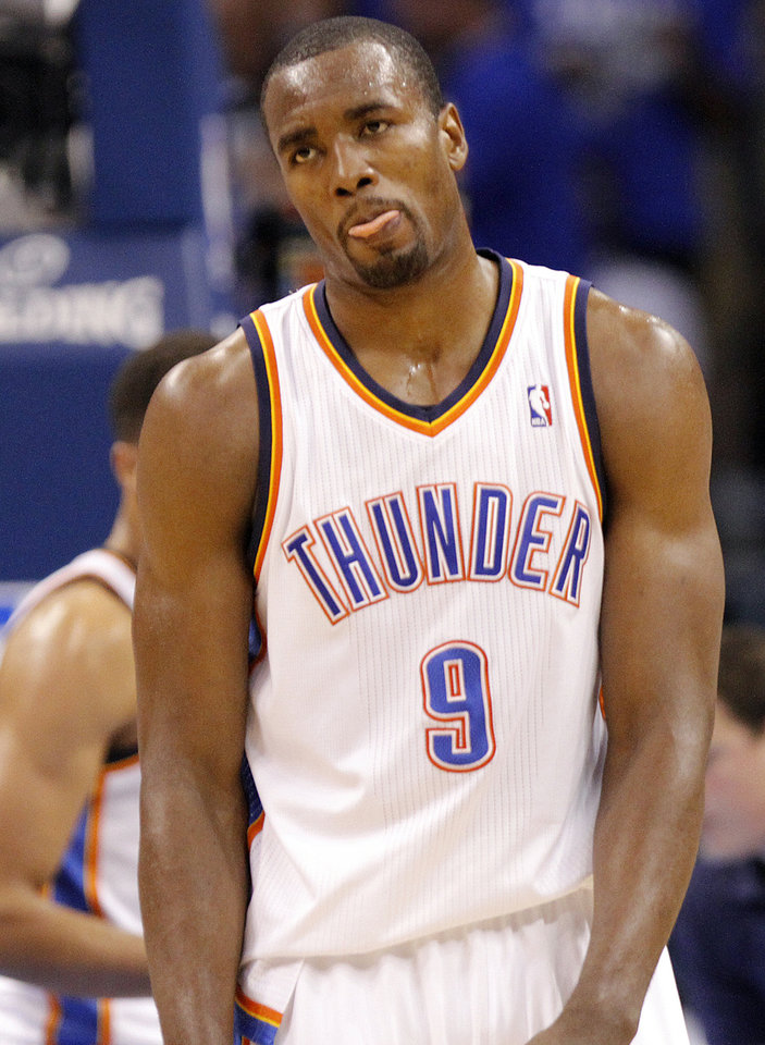 Oklahoma City's Serge Ibaka reacts after being called for a foul during Game 2 in the second round of the NBA playoffs between the Oklahoma City Thunder and the L.A. Lakers at Chesapeake Energy Arena on Wednesday,  May 16, 2012, in Oklahoma City, Oklahoma. Photo by Chris Landsberger, The Oklahoman