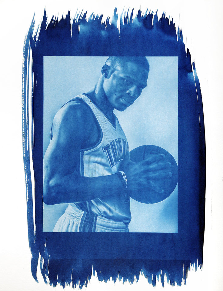 Photo - Thunder guard Russell Westbrook has had two surgeries on his right knee. Photo by Chris Landsberger/Cyanotype print by Nate Billings, The Oklahoman