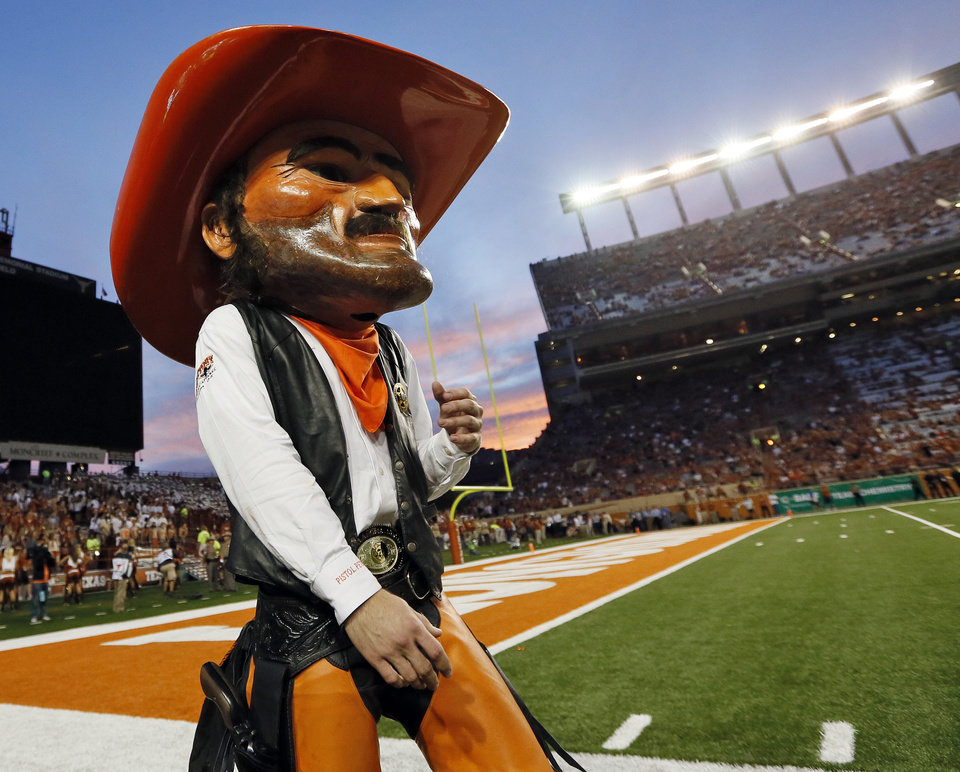 OSU mascot Pistol Pete walks the sideline during a college football game between the Oklahoma State University Cowboys (OSU) and the University of Texas Longhorns (UT) at Darrell K Royal - Texas Memorial Stadium in Austin, Texas, Saturday, Nov. 16, 2013. OSU won, 38-13. Photo by Nate Billings, The Oklahoman