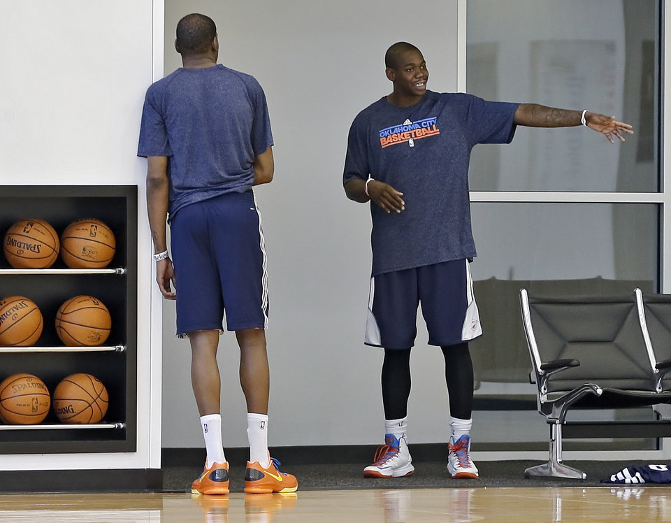 NBA BASKETBALL: Oklahoma City Thunder's Ronnie Brewer talks with Kevin Durant at the Thunder practice facility on Tuesday, Feb. 26, 2013, in Oklahoma City, Okla. . Photo by Chris Landsberger, The Oklahoman