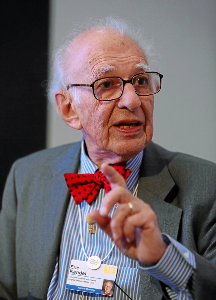 "Eric Kandel, a professor at Columbia University, explains the physiological basis of memory during the session ""In Search of Memory"" in January 2013 at the Annual Meeting 2013 of the World Economic Forum in Davos, Switzerland.  PHOTO PROVIDED <strong></strong>"