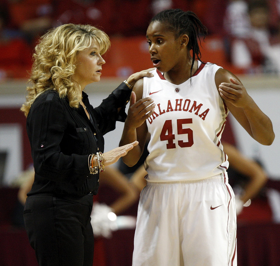 OU head coach Sherri Coale talks with Jasmine Hartman (45) in the first half during a women\'s college basketball game between the University of Oklahoma Sooners and the Vanderbilt Commodores at Lloyd Noble Center in Norman, Okla., Sunday, Dec. 16, 2012. Photo by Nate Billings, The Oklahoman