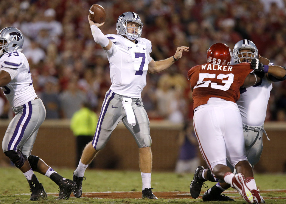 Kansas State\'s Collin Klein (7) drops back to pass during a college football game between the University of Oklahoma Sooners (OU) and the Kansas State University Wildcats (KSU) at Gaylord Family-Oklahoma Memorial Stadium, Saturday, September 22, 2012. Photo by Bryan Terry, The Oklahoman