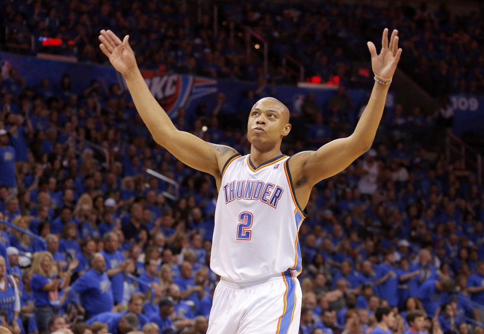 Photo - Oklahoma City's Caron Butler (2) celebrates during Game 1 in the first round of the NBA playoffs between the Oklahoma City Thunder and the Memphis Grizzlies at Chesapeake Energy Arena in Oklahoma City, Saturday, April 19, 2014. Photo by Sarah Phipps, The Oklahoman