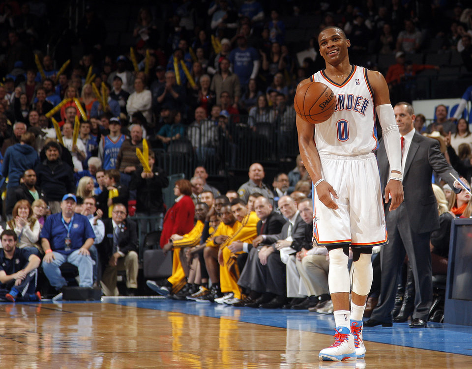 Oklahoma City\'s Russell Westbrook (0) reacts after stealing a ball during the NBA game between the Indiana Pacers and the Oklahoma City Thunder at the Chesapeake Energy Arena Sunday,Dec. 9, 2012. Photo by Sarah Phipps, The Oklahoman