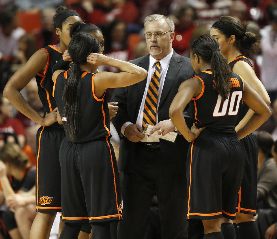Photo - OSU head coach Jim Littell talks with his team in the first half during a women's Bedlam college basketball game between the Oklahoma State University Cowgirls (OSU) and the University of Oklahoma Sooners (OU) at Lloyd Noble Center in Norman, Okla., Saturday, Feb. 1, 2014. Photo by Nate Billings, The Oklahoman