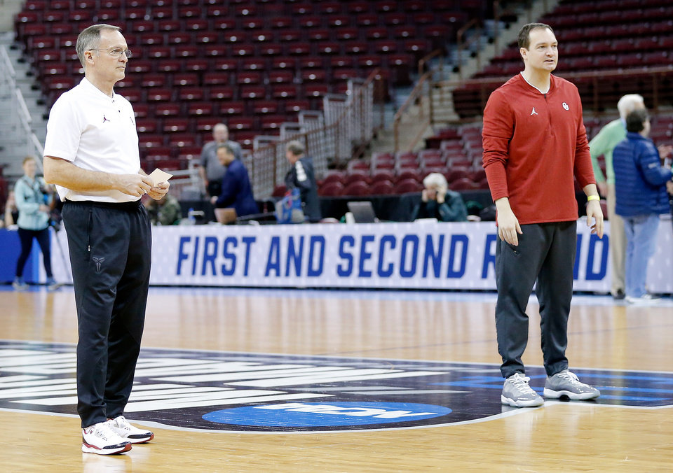 Photo - 03/21/2019 Oklahoma men's basketball 1st and 2nd Round NCAA Tournament practice and presser.  Photo by Ty Russell