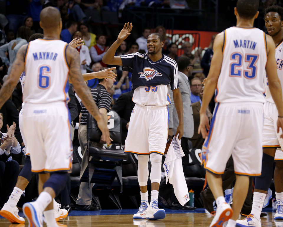 Oklahoma City\'s Kevin Durant (35) celebrates during an NBA basketball game between the Oklahoma City Thunder and the Sacramento Kings at Chesapeake Energy Arena in Oklahoma City, Friday, Dec. 14, 2012. Photo by Bryan Terry, The Oklahoman