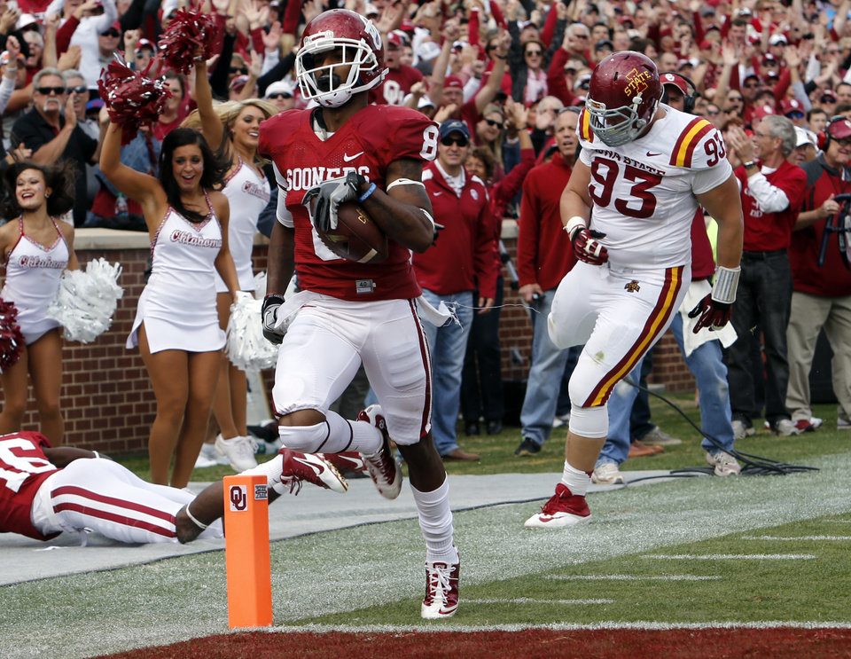 Jalen Saunders (8) scores on a punt return in the second-quarter against Iowa State on Saturday at Gaylord Family-Oklahoma Memorial Stadium in Norman. Saunders' return is the third-longest in OU history behind Darrell Royal (96 yards) and Eddie Hinton (93). Photo by Steve Sisney, The Oklahoman