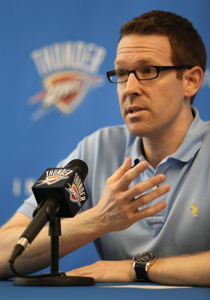 OKLAHOMA CITY THUNDER NBA BASKETBALL: Sam Presti, Oklahoma City general manager, speaks during a press conference announcing Scott Brook\'s new $16 million contract at the Integris Health Thunder Development Center in Oklahoma City, Tuesday, July 3, 2012. Photo by Garett Fisbeck, The Oklahoman