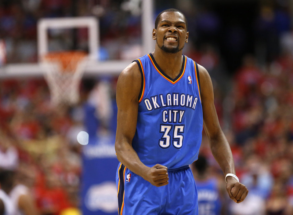 Oklahoma City's Kevin Durant (35) reacts during Game 6 of the Western Conference semifinals in the NBA playoffs between the Oklahoma City Thunder and the Los Angeles Clippers at the Staples Center in Los Angeles, Thursday, May 15, 2014. Photo by Nate Billings, The Oklahoman