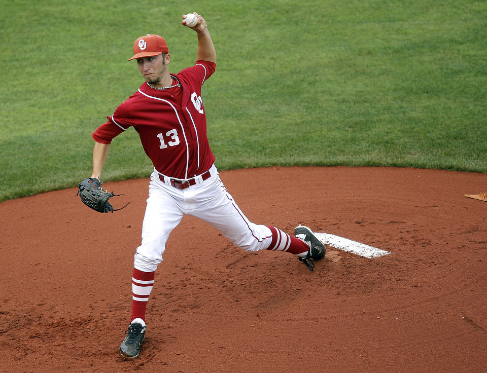 OU / OSU / BEDLAM COLLEGE BASEBALL: Oklahoma\'s Dillon Overton throws a pitch during the Bedlam baseball game between the University of Oklahoma and Oklahoma State University at the Chickasaw Bricktown Ballpark in Oklahoma City, Sunday, May 6, 2012. Photo by Sarah Phipps, The Oklahoman