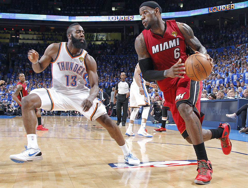 Oklahoma City's James Harden (13) defends on Miami's LeBron James (6) during Game 1 of the NBA Finals between the Oklahoma City Thunder and the Miami Heat at Chesapeake Energy Arena in Oklahoma City, Tuesday, June 12, 2012. Photo by Chris Landsberger, The Oklahoman