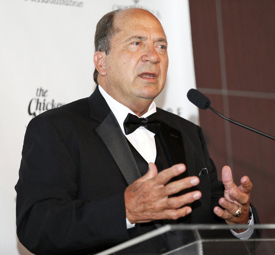 Photo - Johnny Bench, lifetime achievement award winner, speaks during the press conference for the 2015 inductees to the Oklahoma Sports Hall of Fame in Oklahoma City, Monday, Aug. 3, 2015. Photo by Nate Billings, The Oklahoman