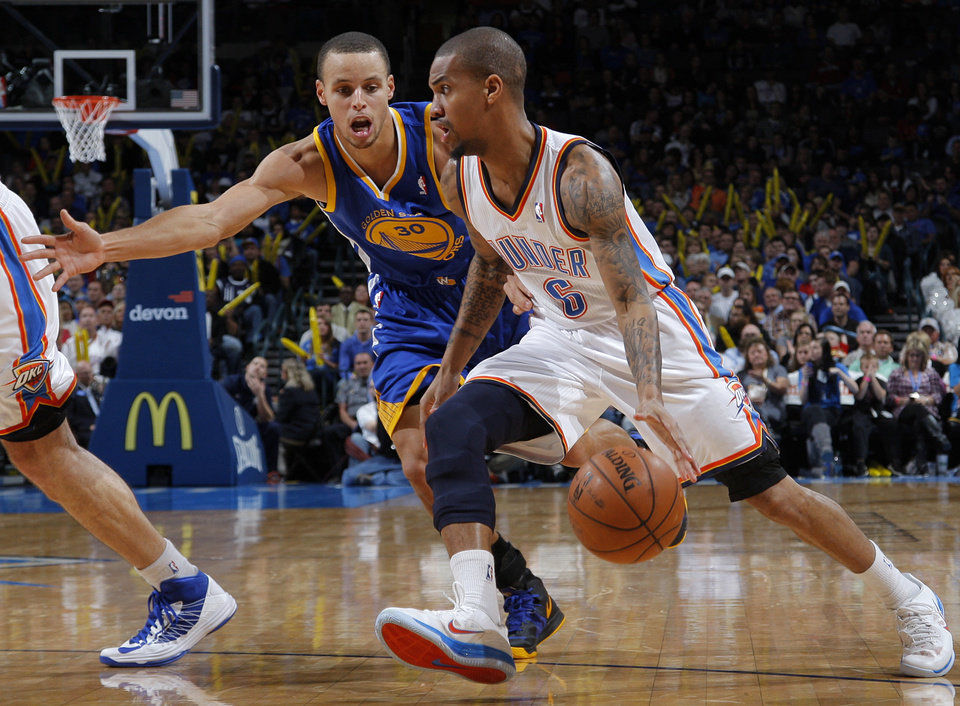 Oklahoma City 's Eric Maynor (6) goes against Golden State's Stephen Curry (30) during an NBA basketball game between the Oklahoma City Thunder and the Golden State Warriors at Chesapeake Energy Arena in Oklahoma City, Sunday, Nov. 18, 2012.  Photo by Garett Fisbeck, The Oklahoman