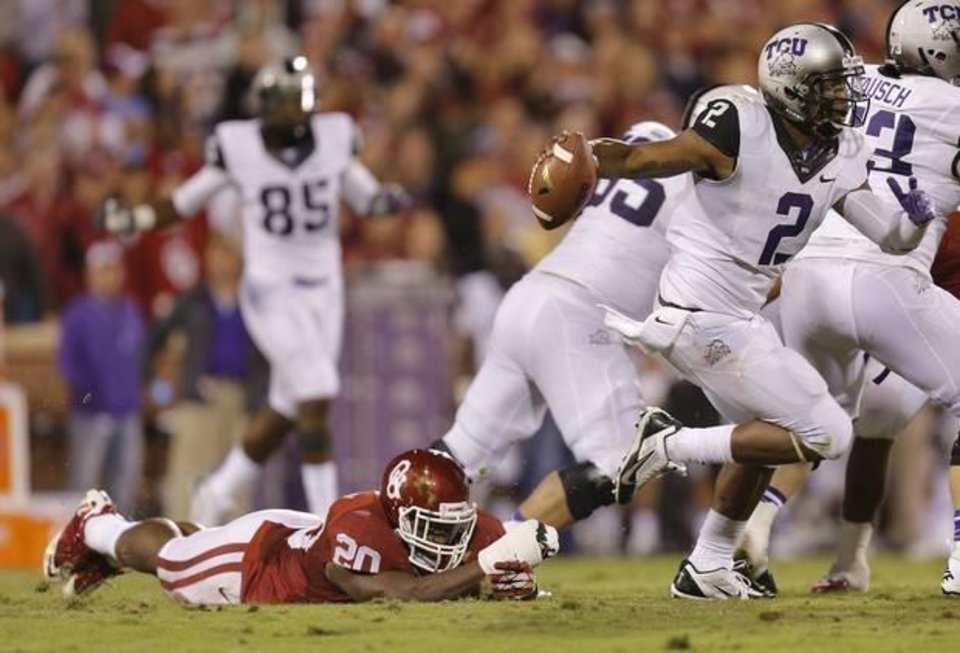 Photo -  Despite TCU's offensive struggles, quarterback Trevone Boykin remains a threat, says OSU defensive coordinator Glenn Spencer.