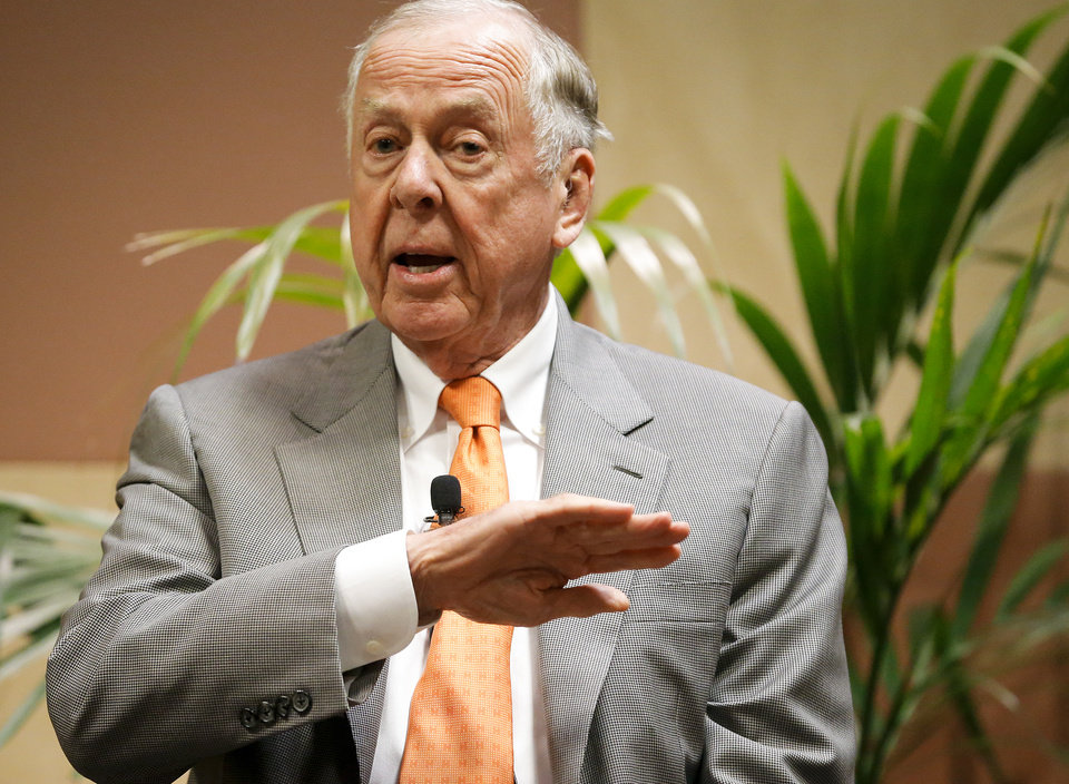 Photo - T. Boone Pickens talks at his birthday bash during the Southern Republican Leadership Conference at the Cox Convention Center in Oklahoma City, Okla. on Friday, May 22, 2015.   Photo by Chris Landsberger, The Oklahoman