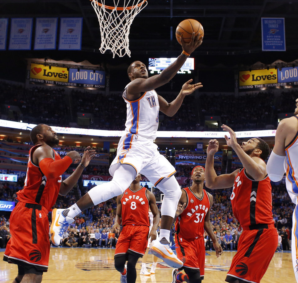Photo - Oklahoma City's Dion Waiters (3) goes to the basket during an NBA basketball game between the Oklahoma City Thunder and the Toronto Raptors at Chesapeake Energy Arena on Wednesday, Nov. 4, 2015. The Thunder lost 103-98. Photo by Bryan Terry, The Oklahoman