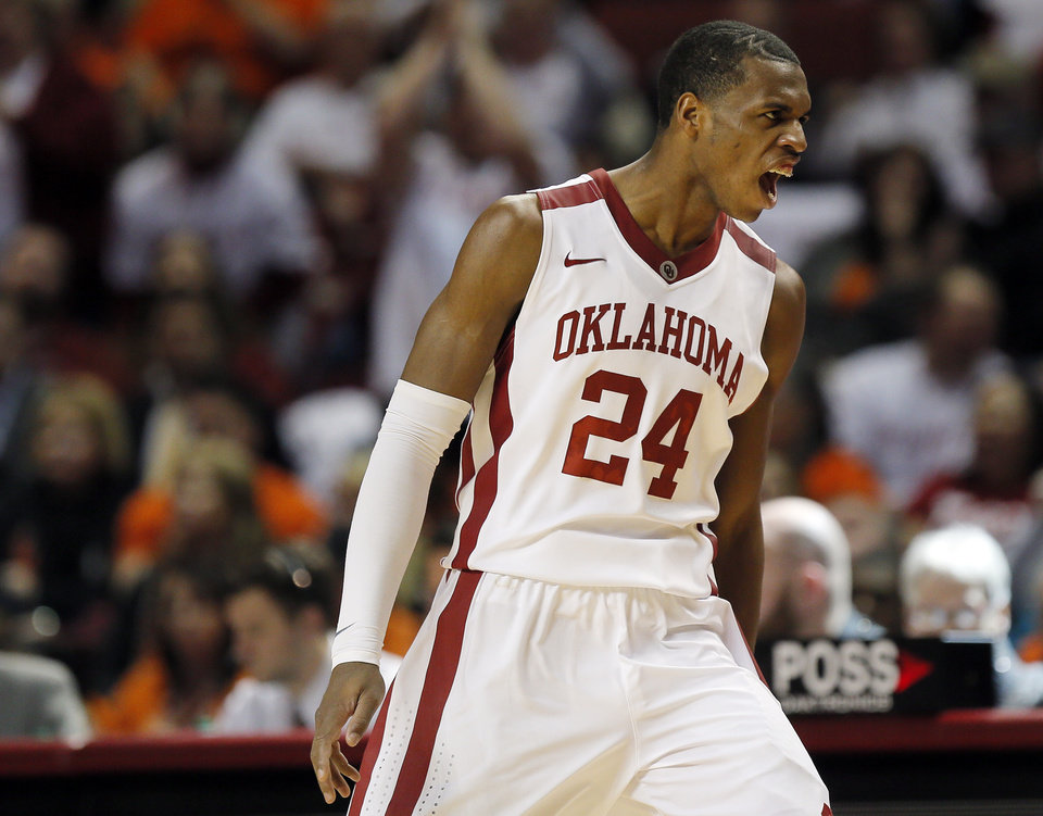 Oklahoma's Buddy Hield (24) reacts in the second half during the NCAA men's Bedlam basketball game between the Oklahoma State Cowboys (OSU) and the Oklahoma Sooners (OU) at Lloyd Noble Center in Norman, Okla., Monday, Jan. 27, 2014. OU won, 88-76. Photo by Nate Billings, The Oklahoman