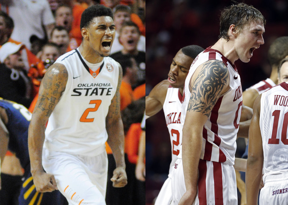 Photo - OSU's Le'Bryan Nash, left, and OU's Ryan Spangler. PHOTOS BY THE OKLAHOMAN