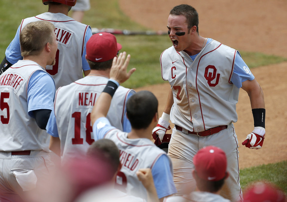 Oklahoma's Max White reacts after scoring against Kansas State in the seventh inning of a Big 12 Championship tournament game at the Chickasaw Bricktown Ballpark in Oklahoma City, Saturday, May, 25, 2013. Oklahoma won 7-6. Photo by Bryan Terry, The Oklahoman