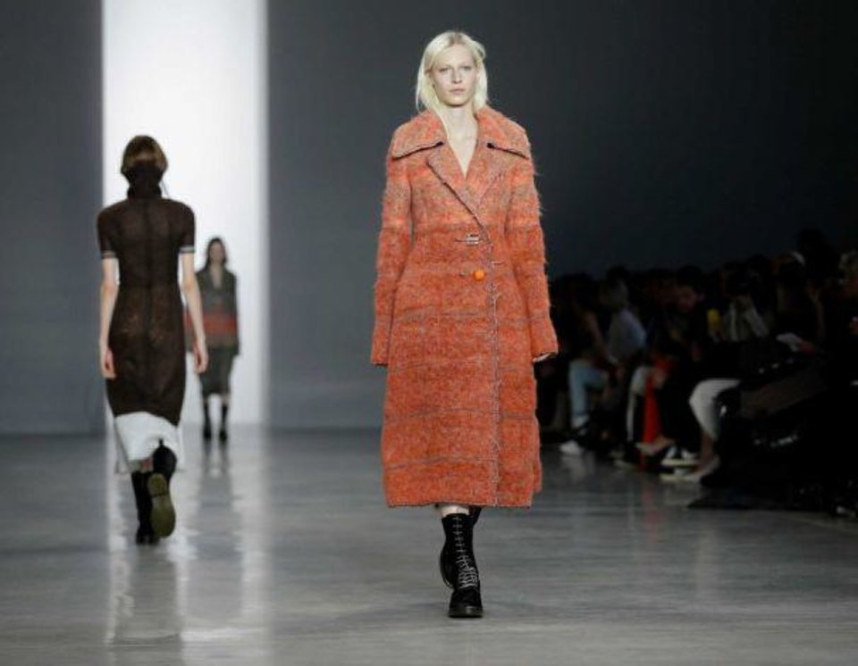 STATEMENT COATS. Plush outerwear seemed fitting on the runway during a cold, snowy fashion week in New York. This coat was from the Calvin Klein fashion show. AP PHOTO <strong></strong>