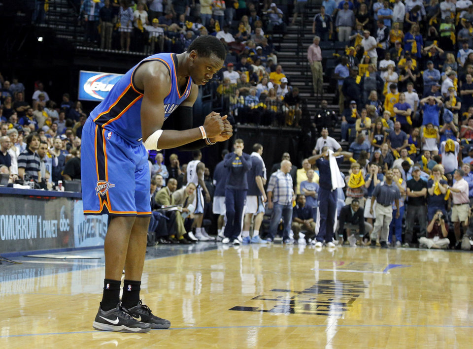 Photo - Oklahoma City's Reggie Jackson (15) reacts after Oklahoma City's win in Game 4 in the first round of the NBA playoffs between the Oklahoma City Thunder and the Memphis Grizzlies at FedExForum in Memphis, Tenn., Saturday, April 26, 2014. PHOTO BY BRYAN TERRY, The Oklahoman