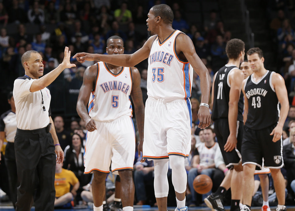 Oklahoma City\'s Kevin Durant (35) yells at the official before being thrown out of the game during the NBA basketball game between the Oklahoma City Thunder and the Brooklyn Nets at the Chesapeake Energy Arena on Wednesday, Jan. 2, 2013, in Oklahoma City, Okla. Photo by Chris Landsberger, The Oklahoman