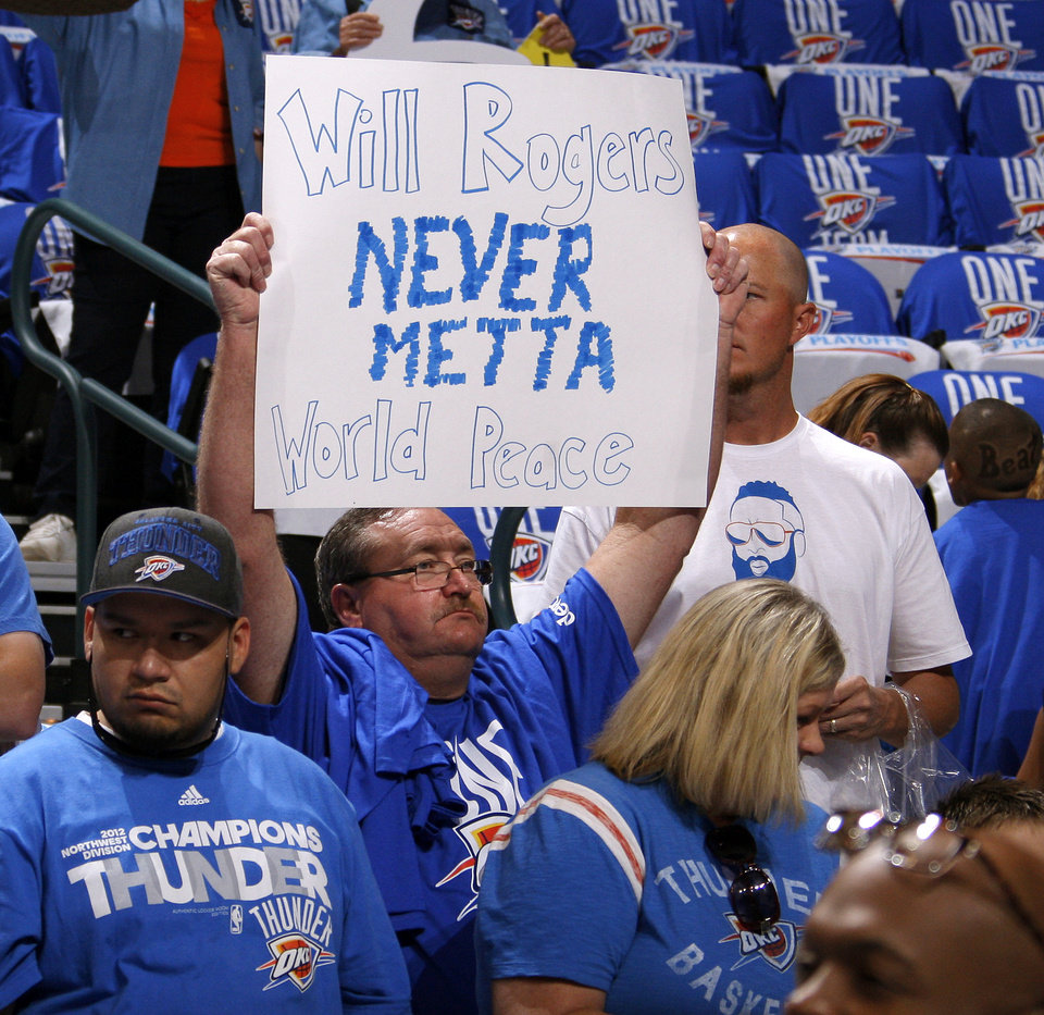 Bob Bandy of Moore holds a sign before  Game 1 in the second round of the NBA playoffs between the Oklahoma City Thunder and L.A. Lakers at Chesapeake Energy Arena in Oklahoma City, Monday, May 14, 2012. Photo by Bryan Terry, The Oklahoman