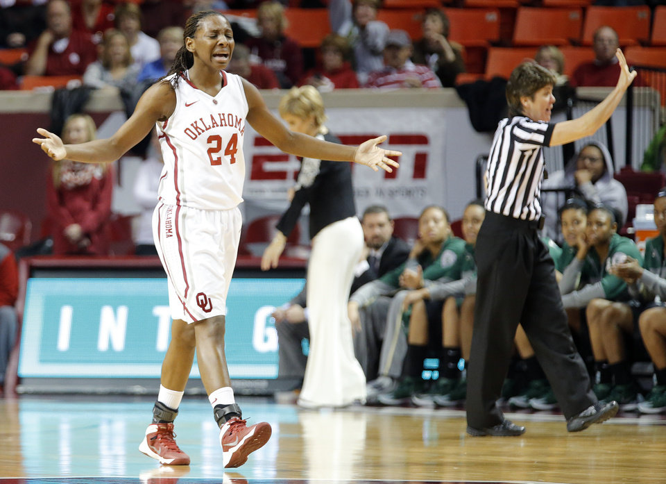 OU�s Sharane Campbell reacts after fouling out of Monday�s loss to Baylor. Photo by Chris Landsberger, The Oklahoman