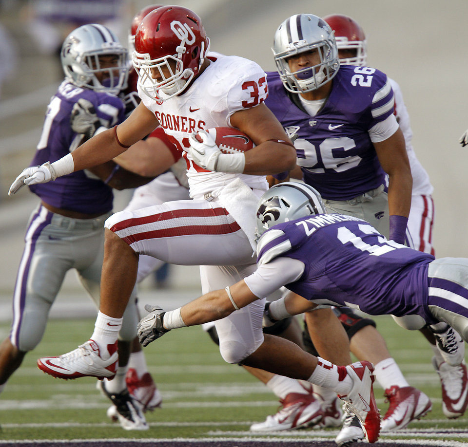 Oklahoma Sooners' Trey Millard (33) runs past Kansas State Wildcats' Ty Zimmerman (12) for a touchdown during the college football game between the University of Oklahoma Sooners (OU) and the Kansas State University Wildcats (KSU) at Bill Snyder Family Stadium on Saturday, Oct. 29, 2011. in Manhattan, Kan. Photo by Chris Landsberger, The Oklahoman  ORG XMIT: KOD