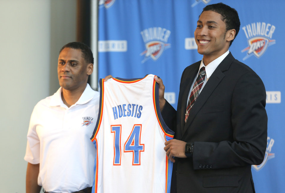 Photo - Troy Weaver introduces Thunder draft pick Josh Heustis at the Oklahoma History Center in Oklahoma CIty,  Friday, June 27, 2014. Photo by Sarah Phipps, The Oklahoman