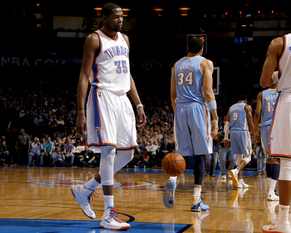 Oklahoma City Thunder\'s Kevin Durant (35) walks towards the bench during an NBA basketball game between the Oklahoma City Thunder and the Denver Nuggets at Chesapeake Energy Arena in Oklahoma City, Tuesday, March 19, 2013. Oklahoma CIty lose 114-104. Photo by Bryan Terry, The Oklahoman