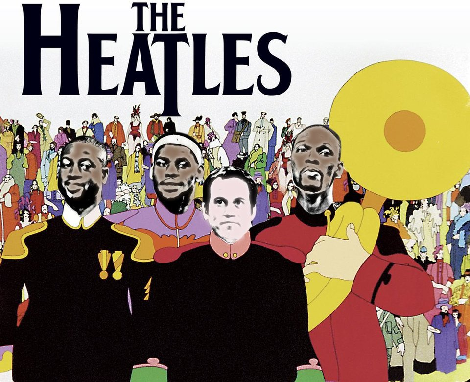 The Heat players as the Beatles: Dwyane Wade, LeBron James, Erik Spoelstra and Chris Bosh. PHOTO ILLUSTRATION BY PHILLIP BAEZA, THE OKLAHOMAN